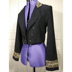 Vintage military jacket cropped bolero embroidered